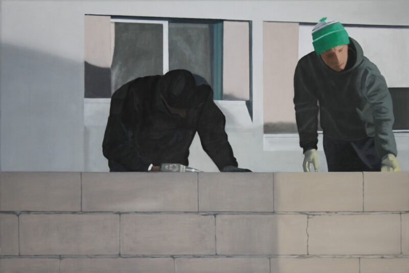 Bauarbeiter, 2018, Malerei von Andrea Eitel