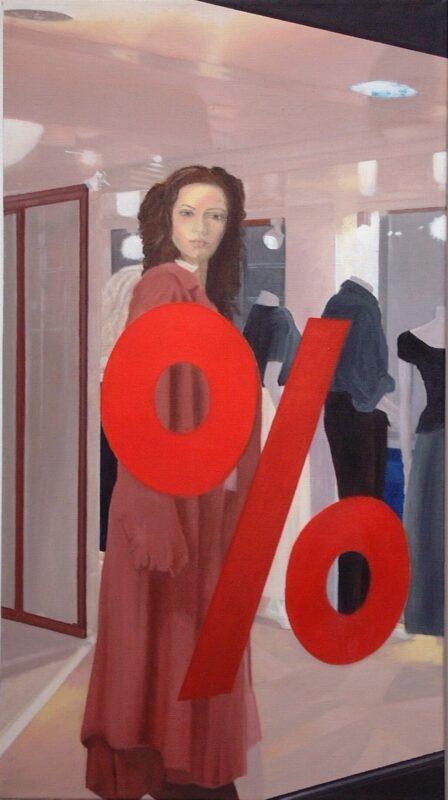 Herabgesetzt, 2004, Öl auf Leinwand 90 x 50 cm von Andrea Eitel