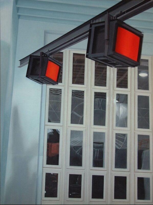 Monitore, 2004, Öl auf Leinwand 120 x 90 cm von Andrea Eitel