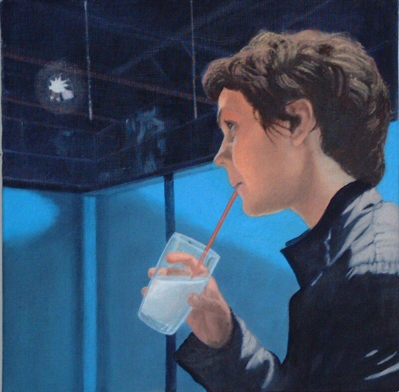 Pause, 2004, Öl auf Leinwand 40 x 40 cm von Andrea Eitel