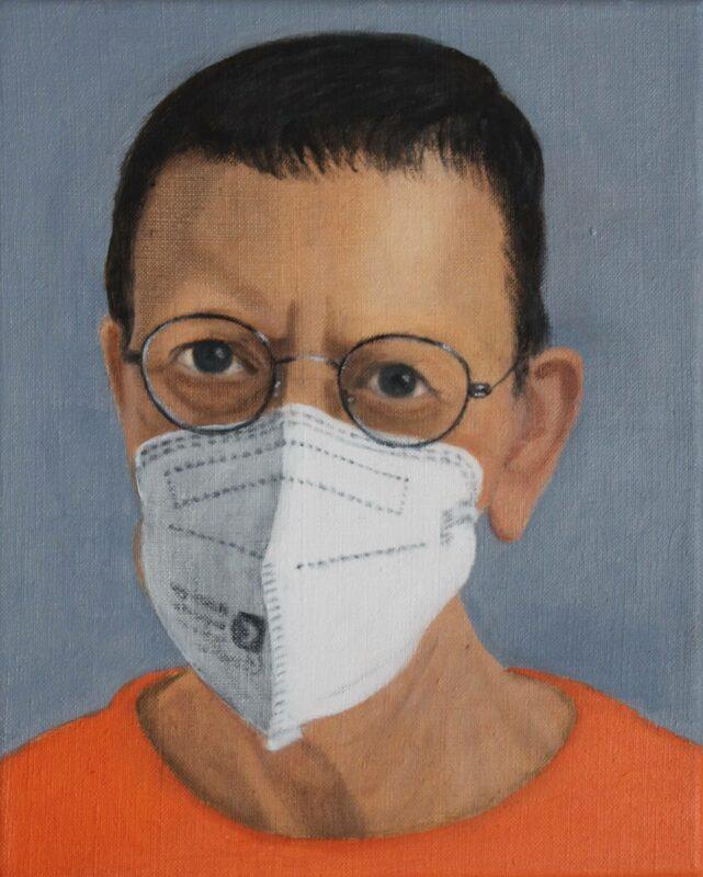 Selbst mit Maske, 2021, Öl auf Leinwand 30 x 24 cm von Andrea Eitel
