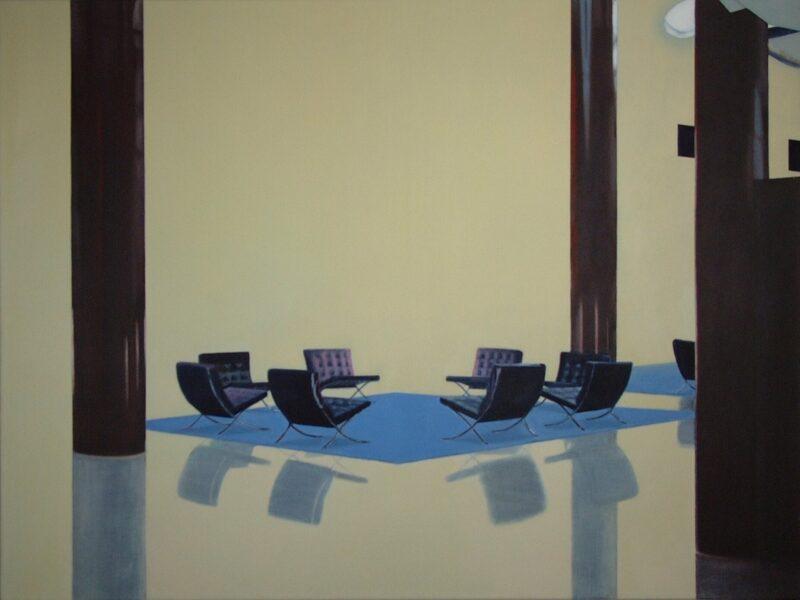 Sitzgruppe, 2004, Öl auf Leinwand 90 x 120 cm von Andrea Eitel